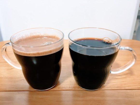 ネスカフェバリスタとお湯で作ったコーヒーの比較